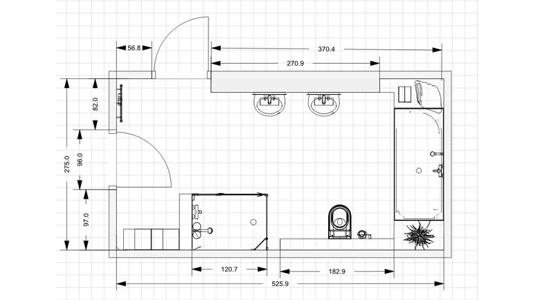 Badplanung Familienbad Zeichnung