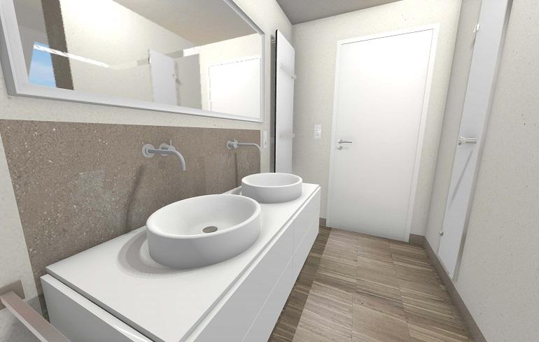 Die 3D- Badplanung der Waschplatz mit Wandschrank