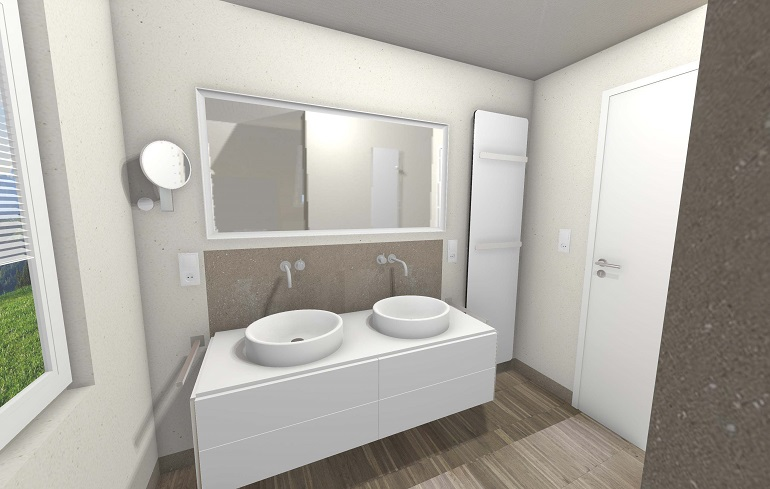 Die 3D- Badplanung der Waschplatz